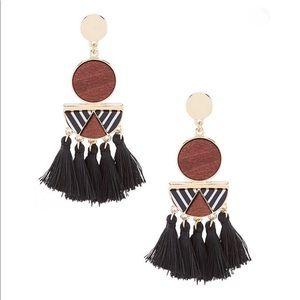 Anna & Ava Geo Wood and Fringe Earrings